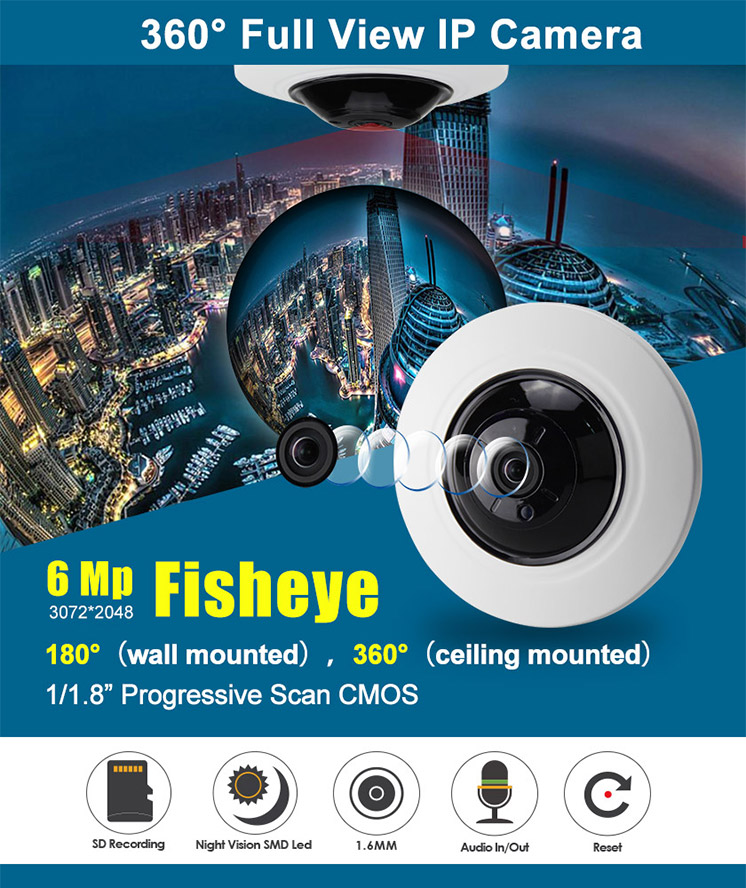 IP Camera Fisheye 6MP 1.6mm 20M IR POE IP3358