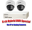 Aver Hybrid IP SPECIAL 8 Channel Nano DVR & 2 FD8134 Domes